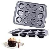 Nimokong Stampo per muffin, in metallo, con rivestimento antiaderente di qualità alimentare, 12 tazze per muffin (nero, 40 cm)