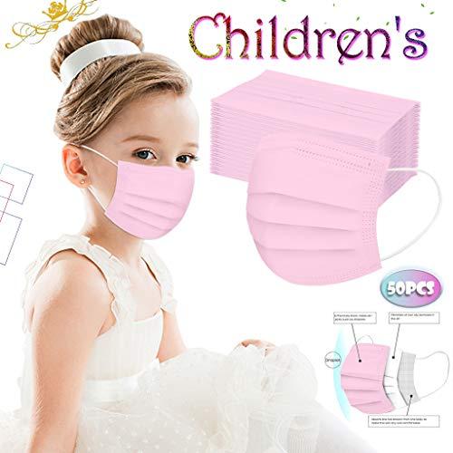 50 Desechable Adultos Infantil Color Sólido De Protección 3 Capas Transpirables Con Elástico Para Los Oídos No Tejido Alta filtración Suave 2020 Nuevo (Rosa)