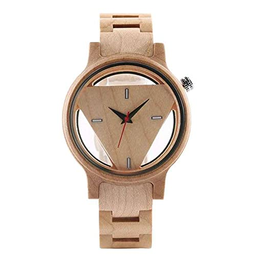 FFHJHJ Reloj de Madera de triángulo geométrico invertido único para Hombres y Mujeres, Reloj de Pulsera de Cuarzo de Madera con Esfera Hueca Creativa, Madera de bambú