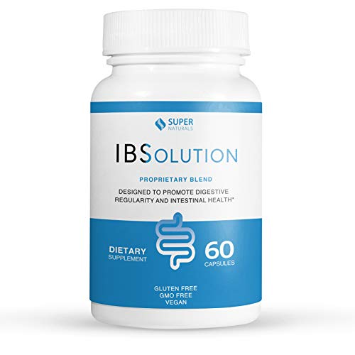 IBSolution -All-natural supplement to support digestive health, gas, bloating, diarrhea and constipation.Made in USA, Non-GMO, Gluten Free & Vegan (60 Capsules)