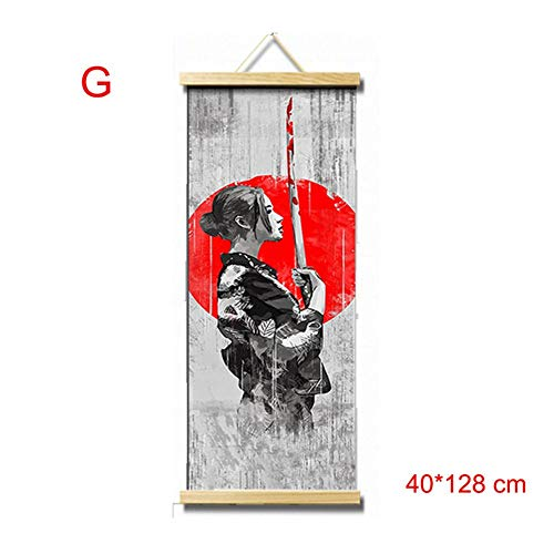 Abilieauty HD Lona Pintura Decoración de Pared Póster Japonés Estilo Decoración Hogar Cuadro Colgante para Salón Dormitorio - G, 40 * 128 cm
