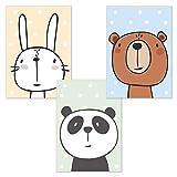 kizibi 3er Set Comic Tiere DIN A4 Poster für Babyzimmer und Kinderzimmer, Tiere Kinderzimmerbilder, Wandbild ohne Bilderrahmen   Kinderposter Deko Jungen und Mädchen   Hase, Bär, Panda Wandposter