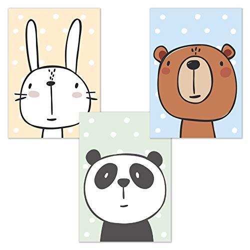 Set van 3 Comic Animals DIN A4 Poster voor babykamer en kinderkamer, dieren kinderkamer foto's, wandafbeelding zonder fotolijst | Kinderposterversiering jongens en meisjes | konijn, beer, panda