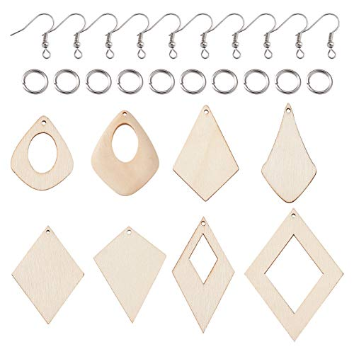 Cheriswelry 80 colgantes de madera natural sin terminar con 8 estilos geométricos de madera con anillos de salto, ganchos para pendientes para hacer joyas