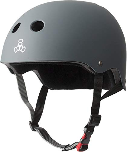 Triple Eight THE Certified Sweatsaver Helmet for Skateboarding, BMX, and Roller Skating, Carbon Rubber, X-Small / Small