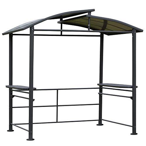 Outsunny Grillpavillon mit Flammschutzdach, BBQ-Pavillon mit 2 Ablagen Stahl PC Dunkelgrau, 240 x 150 x 230 cm