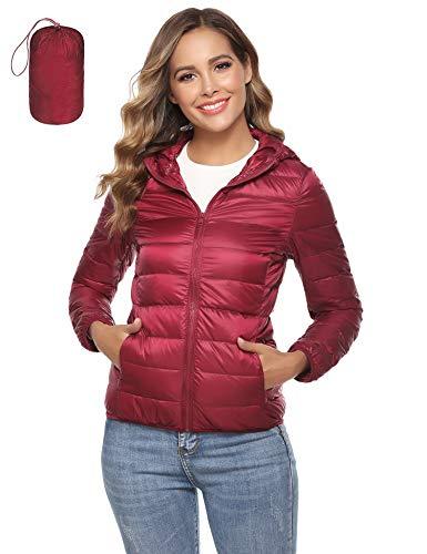 Aibrou dames donsjack lichte winterjas gewatteerde jas met capuchon softdonsjack overgangsjas