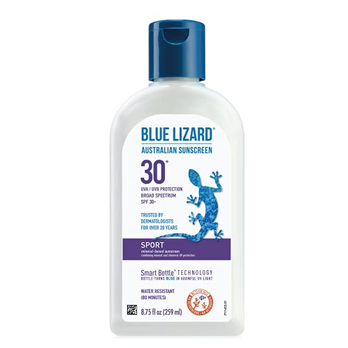 BLUE LIZARD Sport Mineral Sunscreen with Zinc Oxide, SPF 30+, Water/Sweat Resistant, UVA/UVB Protection with Smart Bottle Technology - Fragrance Free, Unscented, 8.75 Fl Oz