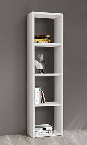 Legno&Design Bibliothèque étagère Porte CD Porte DVD Blanc frassinato 4 éléments