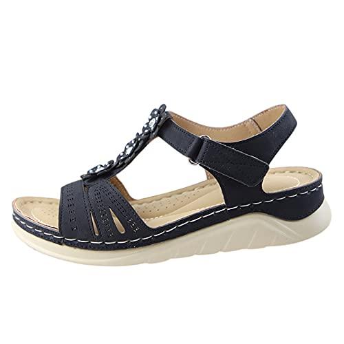 Sandali con plateau estivi da donna Elegante tacco alto floccato Elegante cinturino alla caviglia con punta aperta Sandali con perle da spiaggia all'aperto (G4-Black,39.5)