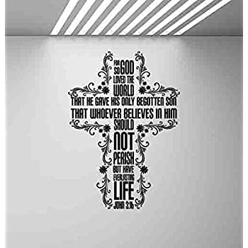 John 3 16 Bible Quote Vinyl Wall Decal Lettering Words