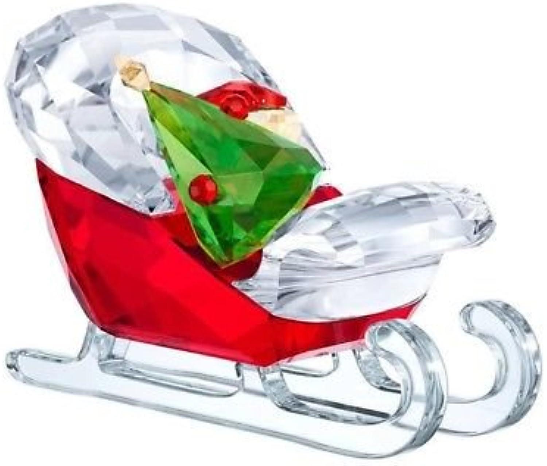 Swarovski Santa's Sleigh Christmas Holiday Figurine, Red Green Clear Crystal