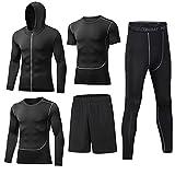 BUYJYA 5Pcs Men's Compression Pants Shirt Top Long Sleeve Jacket Athletic Sets Gym Clothing Mens Workout (Black, L)