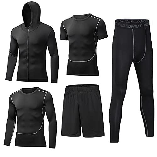 BUYJYA 5Pcs Men's Compression Top Pants Long Sleeve Fitness Suit Workout Set (Black, XL)