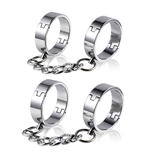 Nologo - Esposas de acero inoxidable con cadena, metal, Para mujer., Hand+Leg