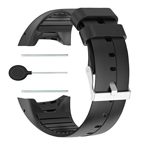 Huabao Correa de Reloj Compatible con Polar M400, Ajustable Pulsera Silicona Deportiva Band Repuesto Pulsera para Polar M400 (Negro)