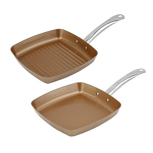 Silverfer 2pcs Copper Coating Bottom Frying Pans Non-Stick Square Gril