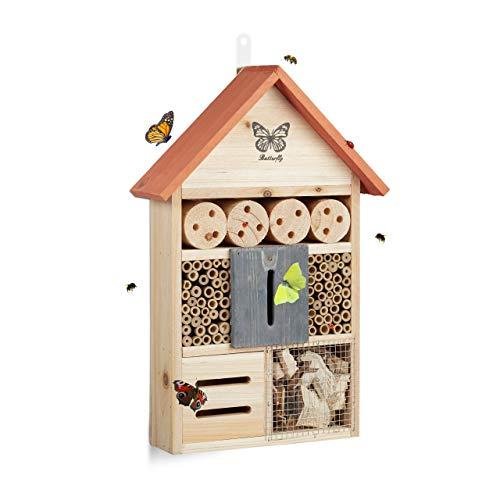 Relaxdays Hôtel à Insectes Papillon Coccinelle Abeille Jardin Balcon à Suspendre HxlxP: 41, 5 x 27, 5 x 8, 5 cm, Orange, 5 x 8,5 cm, 8, 41,5 cm