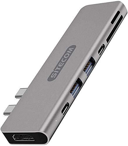 Sitecom CN-391 Adattatore Multiporta Dual USB-C per MacBook Pro, 2 x USB-C a 1 x HDMI + 2 x USB 3.1 + USB-C 3.1 + UBS-C 3.1 Power Delivery