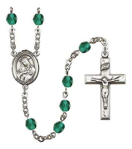 Silver Plate Rosary Features 6mm Zircon Fire Polished Beads. The Crucifix Measures 1 3/8 x 3/4. The Centerpiece Features a St. Rose of Lima Medal. Patron Saint Vanity/South America