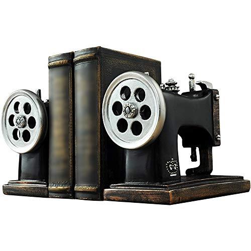 DX Buchstützen für Nähmaschinen, Vintage-Stil, für Nähmaschinen, schwere Aufbewahrung, Retro, Hipster, Büro, Kinderzimmer, Heimdekoration, Schwarz