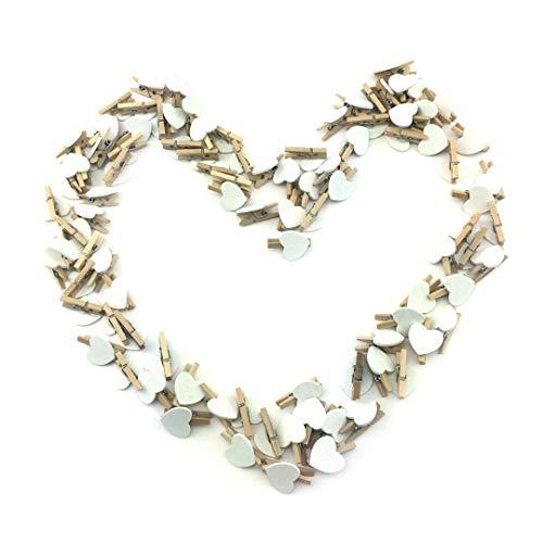 Sepkina 100 kleine süße Mini Zierklammern Dekoklammern Klammern Holz Wäscheklammern Miniklammern Holzklammern Herz Herzen Herzchen Herz weiss