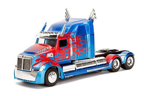 Jada Toys Transformers T5 Optimus Prime, Western Star 5700 Ex Phantom, 253115003 - Coche de Juguete (Escala 1:24), Color Azul y Rojo