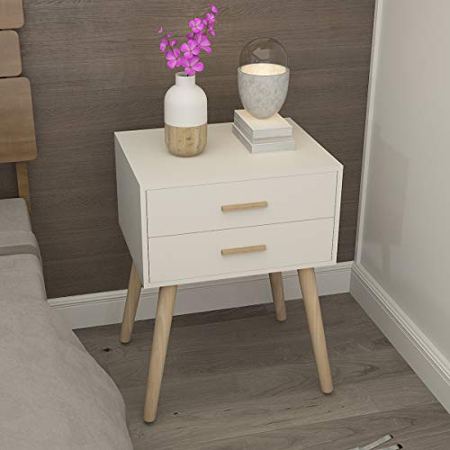 Bedside Table Nordic Style Side Table for Bedroom with 2 Drawers Wood Leg Wood Unfinished Handle Painted Finish