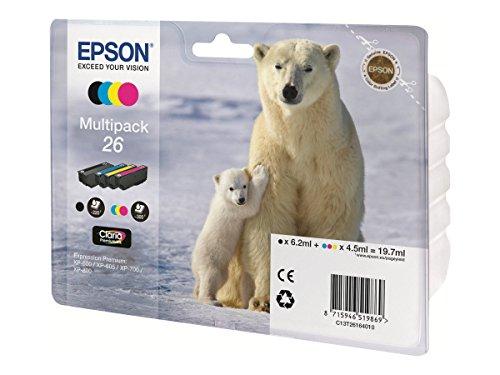 Epson 26 Multipack - 4er-Pack - Schwarz, Gelb, Cyan, Magenta - Original - Tintenpatrone - für Expression Premium XP-510, 520, 600, 605, 610, 615, 620, 625, 700, 710, 720, 800, 810, 820