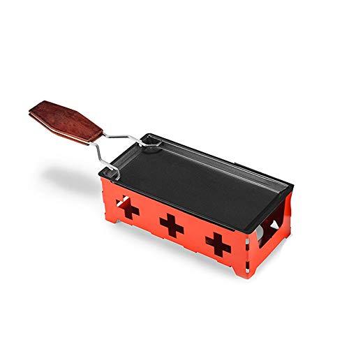 Lancoon Mini Raclette - Juego de parrilla, antiadherente para derretir queso con espátula plegable con mango de madera, calentada por Candlelight