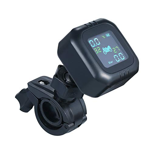 KKmoon Reifendruckkontrollsystem für Motorräder Drahtloses TPMS Reifendruckkontrollsystem für Motorräder Wasserdicht mit 2 externen Sensoren für Motorräder