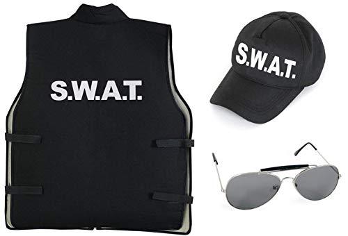 KarnevalsTeufel Kostüm - Set SWAT für Kinder | 3-TLG. SWAT-Weste, SWAT-Mütze und Sonnenbrille | Agent, Geheimermittler, Security, Polizei, FBI (140)