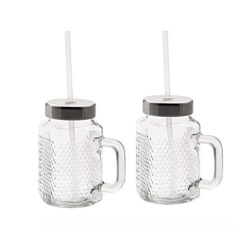 WMF Kult X Mason Cup Set 2-teilig, Trinkgläser mit Henkel 450ml, Stohhalm und Deckel, zum direkten Mixen von Smoothies