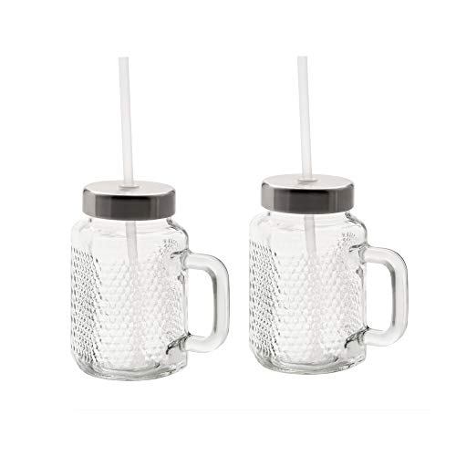 WMF Kult X Mason Cup Set, 2-teilig, Trinkgläser, mit Henkel 450 ml, Stohhalm und Deckel, zum direkten Mixen von Smoothies