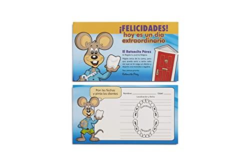 LA PUERTA MÁGICA Ratoncito Pérez Roja + Escalera + Plato + Queso + Felpudo + Llave + Dibujo Fondo de Puerta + Postal de Felicitación