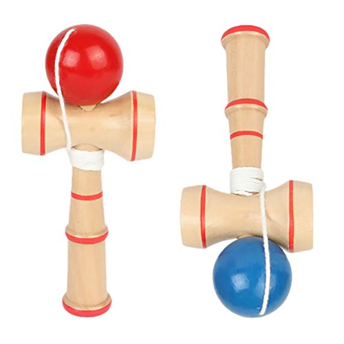 BESPORTBLE 2pcs Kids Mini Wood Kendama Toy Traditional Japanese Toss Catch Skill Toy Game Educational Kendama Toy Rubber Painted Balls with String for Skill Building( Blue Red)
