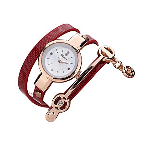Piel 1PC Creativo Mujeres Pulsera de Reloj de Cuarzo de Capas múltiples Abrigo Alrededor de la Pulsera del Cuero Multi usos de Cuarzo de Relojes de señora Girls Hombres (Rojo)