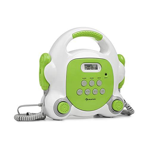 auna Pocket Rocker BT - Equipo de Karaoke, Conectividad Bluetooth, 2 micrófonos de Mano, Puerto USB para Reproducir MP3, Pantalla LCD, Conector AUX, Asa, Enchufado o con batería, Verde