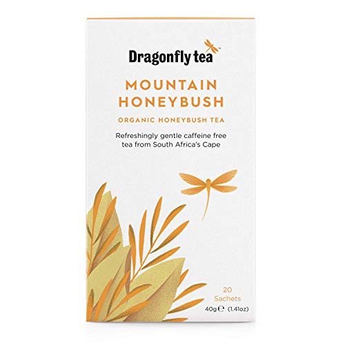 Dragonfly Tea Organic Mountain Honeybush Tea 20 Teabags (Pack of 4, Total 80 Teabags)