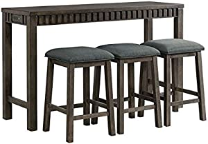 BOWERY HILL Multipurpose Home Living Room Bar Table and Stools Set