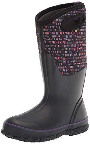 Bogs Women's Classic Tall Rainboot Rain Boot, Twinkle Print-Black, 8