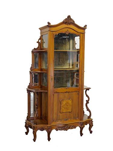 Antiker Vitrinenschrank aus Nussbaum | Buffetschrank Aufsatzschrank | Louis Philippe um 1870 | B: 112 cm (9906)