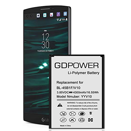 LG V10 Battery, GDPower 4300mAh High Capacity 0 Cycle Battery BL-45B1F Replacement for LG V10 H960A H961N VS990 (Verizon), H900 (AT&T),H901(T-Mobile), V10 Spare Battery-3 Year Warranty