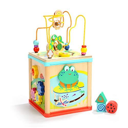 Cubo De Actividad Actividad Woody Cube Juguetes De Madera  Centro Educativo De Bebé Y Niños Pequeños con Laberinto De Bead Actividades De Reconocimiento De Color  Divertido Actividad De Aprendizaje