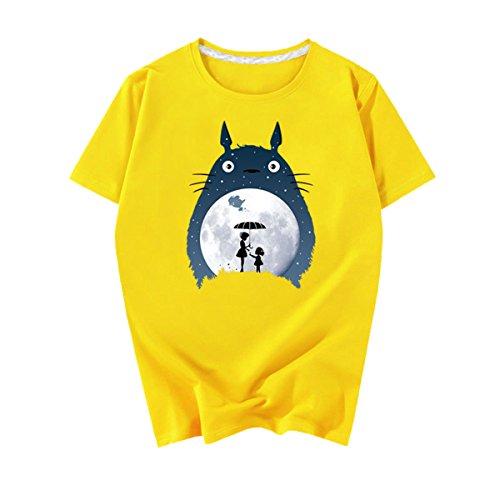 ACEFAST INC Totoro Shirt Unisex T-Shirt Mens Womens Casual Printed Tee Shirt Yellow