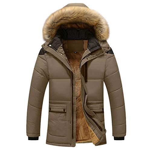 Review POPNINGKS Men's Winter Thicken Coat Faux Fur Lined Quilted Jacket with Removable Fur Hood Dar...