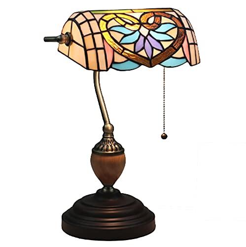 AIBOTY Lámpara de banqueros de Cristal de Estilo Tiffany Lámpara de Mesa de Noche Antigua Lámpara de Piano Hecha a Mano con Base de aleación de Zinc para cafetería Bar salón,D