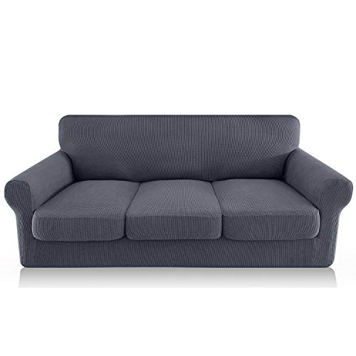 FAHUA 4 Piece High Stretch Couch Covers for 3 Cushion Couch Soft Sofa Cover with Separate Cushion Cover Form Fit Sofa Slipcover Furniture Protector Machine Washable (Large, Gray)