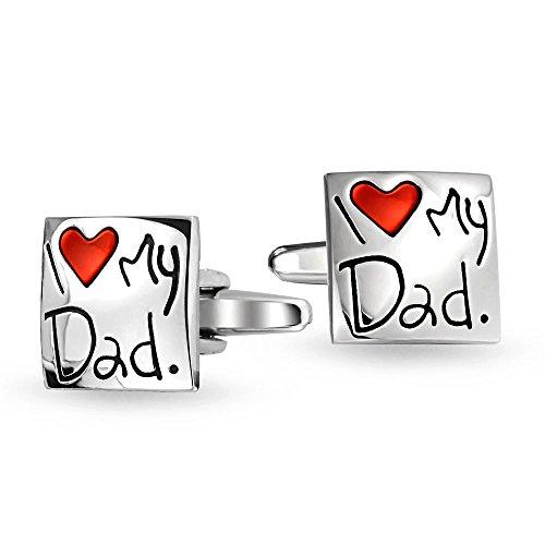 Bling Jewelry J'aime Mon Papa Coeur Rouge Brassard Carré Lien Chemise Boutons De Manchette Homme Père Enamel en Laiton Plaqué Acier