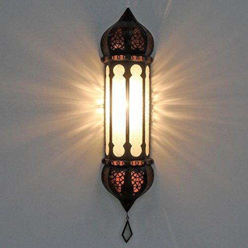 Casa Moro Orientalische Wandlampe Ruya weiß 57x12 cm (Höhe/Breite) aus Eisen Relief-Glas | Kunsthandwerk aus Marrakesch | Marokkanische Wandleuchte Boho Chic für einfach schöner wohnen | L5054